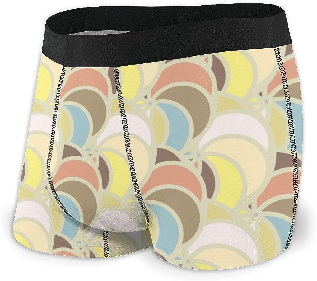 Mens Boxer Briefs Unique Wave Color Seamless Breathable Underwear