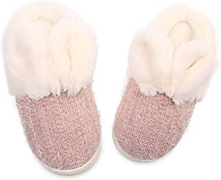 Caramella Bubble Kid's Cute Fuzzy Bunny Slippers Yarn Cable Knitted House Slippers for Boys and Girls