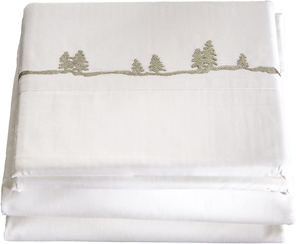Limited price sale Carstens Large-scale sale Embroidered Pines Queen Sheet