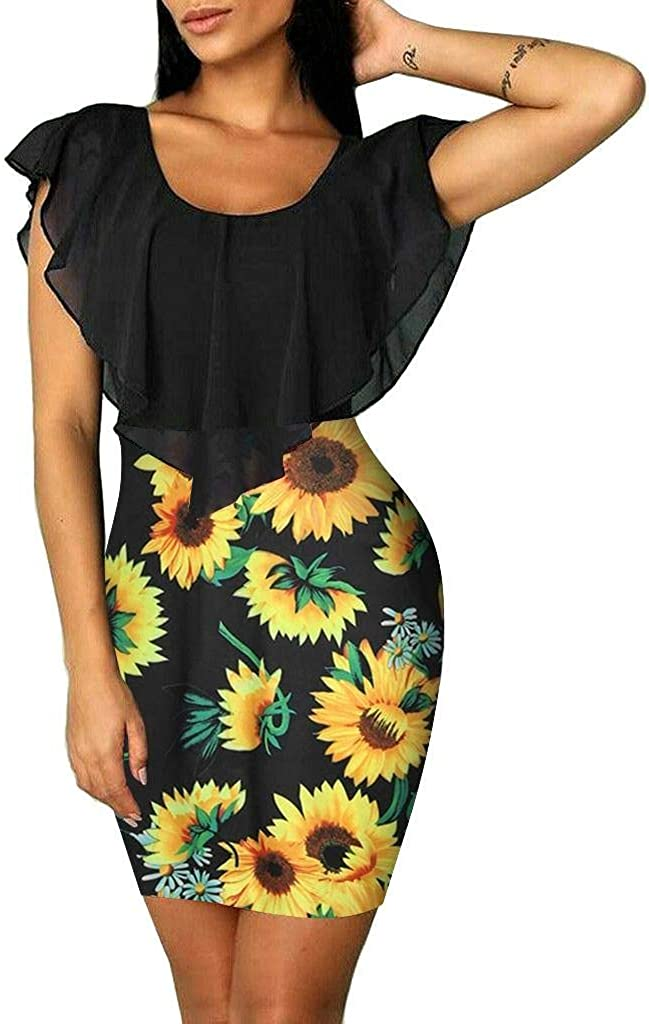 Sexy Sleeveless Sunflower Dresses for Women, Color Contrast Holiday Party Short Mini Bodycon Dress