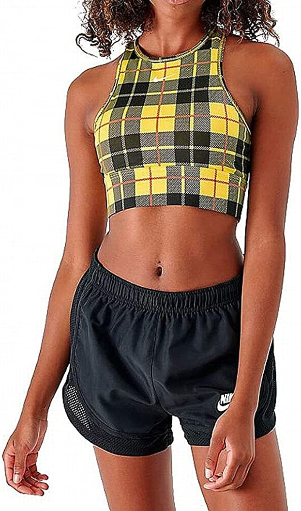 Nike Now on sale Women's Medium Support Plaid Yellow Sports L Bra Direct store
