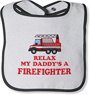 Relax My A Firefighter Cotton Baby Terry Bib Contrast Trim, One Size