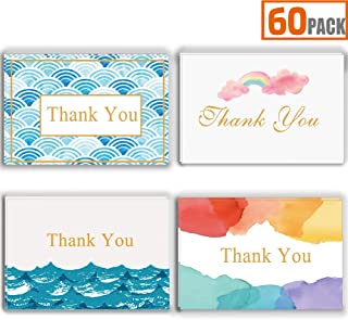 Thank You Cards -60 Blank Gold Foil Watercolor Thank You Notes-Contains Blank Cards with Envelopes for Baby Shower, Wedding 4 x 6 Inches