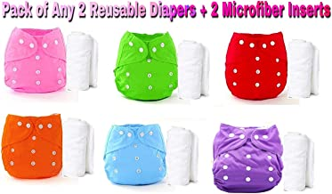 THE LITTLE LOOKERS® Premium Quality Adjustable & Reusable Baby Washable Cloth Diaper Nappies with Wet-Free Inserts for Babies/Infants/Toddlers  Age 0 to 2 Years Pack of 2 (Random Colors)