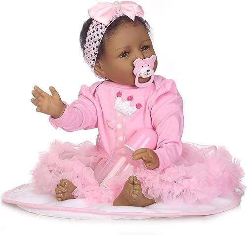 DEjasnyfall Kinder Kinder Spielzeug Weiße Silikon Reborn Baby Realistische Puppe SchwarzReborn Babys Puppen Mit Kleidung für mädchen Spielkameraden (Rosa)