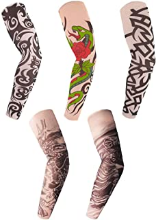 Arts Fake Temporary Tattoo Arm Sleeves Hosamtel UV Sun Protection Sunscreen Skull Snake Design for Adults Women Men Boys Girls