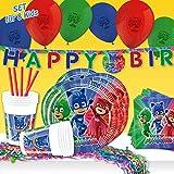 PJ Masks, set di decorazioni per feste di compleanno per bambini, con stoviglie per feste, palloncini e decorazioni per la stanza