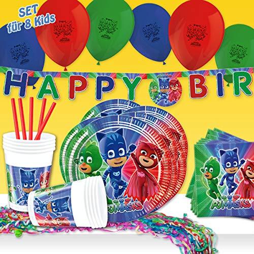 PJ Masks, 58-TLG. Party Deko Set Kindergeburtstag mit Partygeschirr, Ballons u.a. Raumdeko