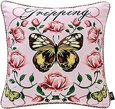 LF- Household Cushion Cotton Comfortable Material Light Luxury Plant Pattern Sofa Pillow Removable Sofa Cushions Grey Cush...