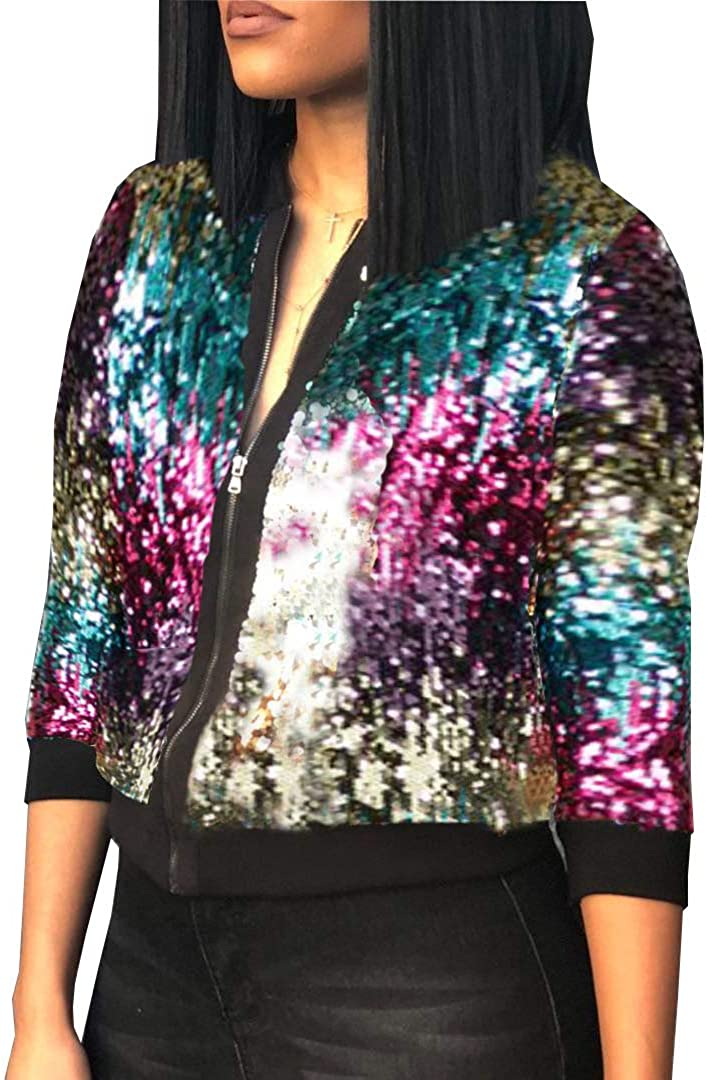 1980 Zip Up Contrast Outlet sale feature Spring new work Sequin Rave Jacket Womens Costume fo Ladies