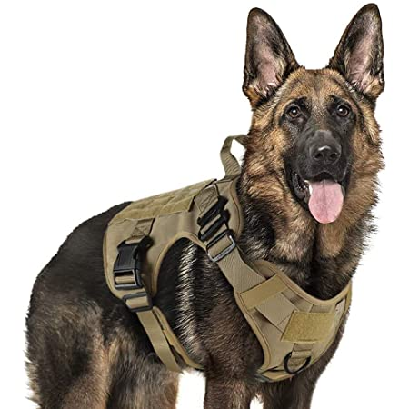 """rabbitgoo Tactical Dog Harness Vest Large with Handle, Military Dog Harness Working Dog Vest with MOLLE & Loop Panels, No-Pull Adjustable Training Vest, Tan, XLarge Size, Chest (33.4-46.4"""")"""