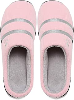 Women's Breathable Memory Foam Slippers with Cozy Plush Non-Slip Rubber Sole House Slippers Winter Warm Knitted Cotton Slipper Shoes