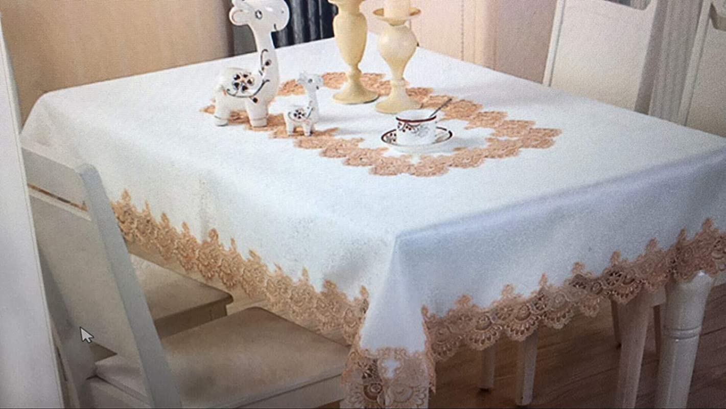 GENGCHENG Rectangular Oil Proof Lace Decoration Satin Tablecloth 60 90 Inch