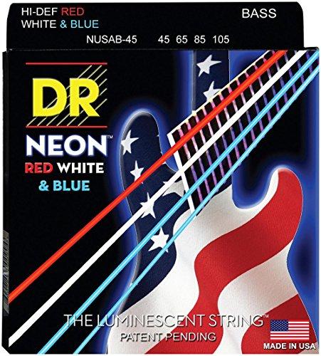 Dr Strings nusab4545–105medium set Handmade Neon USA Flagge COATED BASS STRINGS