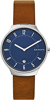 Skagen Men's Quartz Watch analog Display and Leather Strap, SKW6457