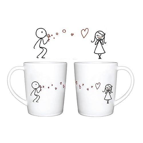 Accesorio de Cer/ámica Bes/ándose Juego de 2 Tazas de Desayuno Caf/é o Te Caja de Regalo para d/ía San Valent/ín con Frase de Love Cuchara de Coraz/ón de Amor