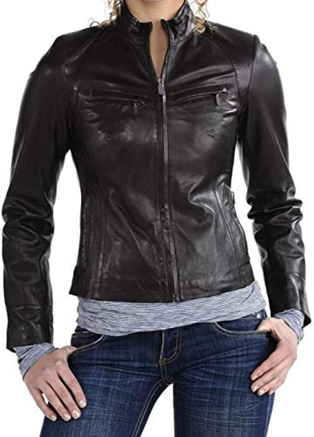 New Fashion Style Women's Leather Jackets Black K99_