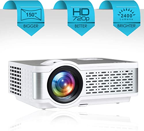 "Egate I9 Real HD 720p (1080p Support) | 2400 L (225 ANSI ) with 150 "" (3.8 m) Large Display LED Projector 
