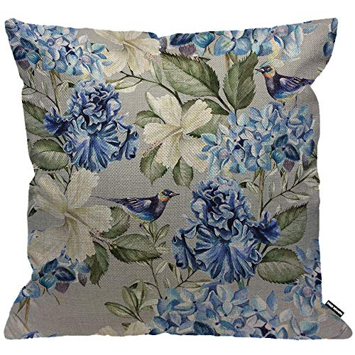 HGOD DESIGNS Spring Floral Cushion Cover,Plant Flowers Hydrangea Hibiscus Iris Bird Leaf Blue Green Throw Pillow Case Home Decorative for Living Room Bedroom Sofa Chair 18X18 Inch Pillowcase 45X45cm