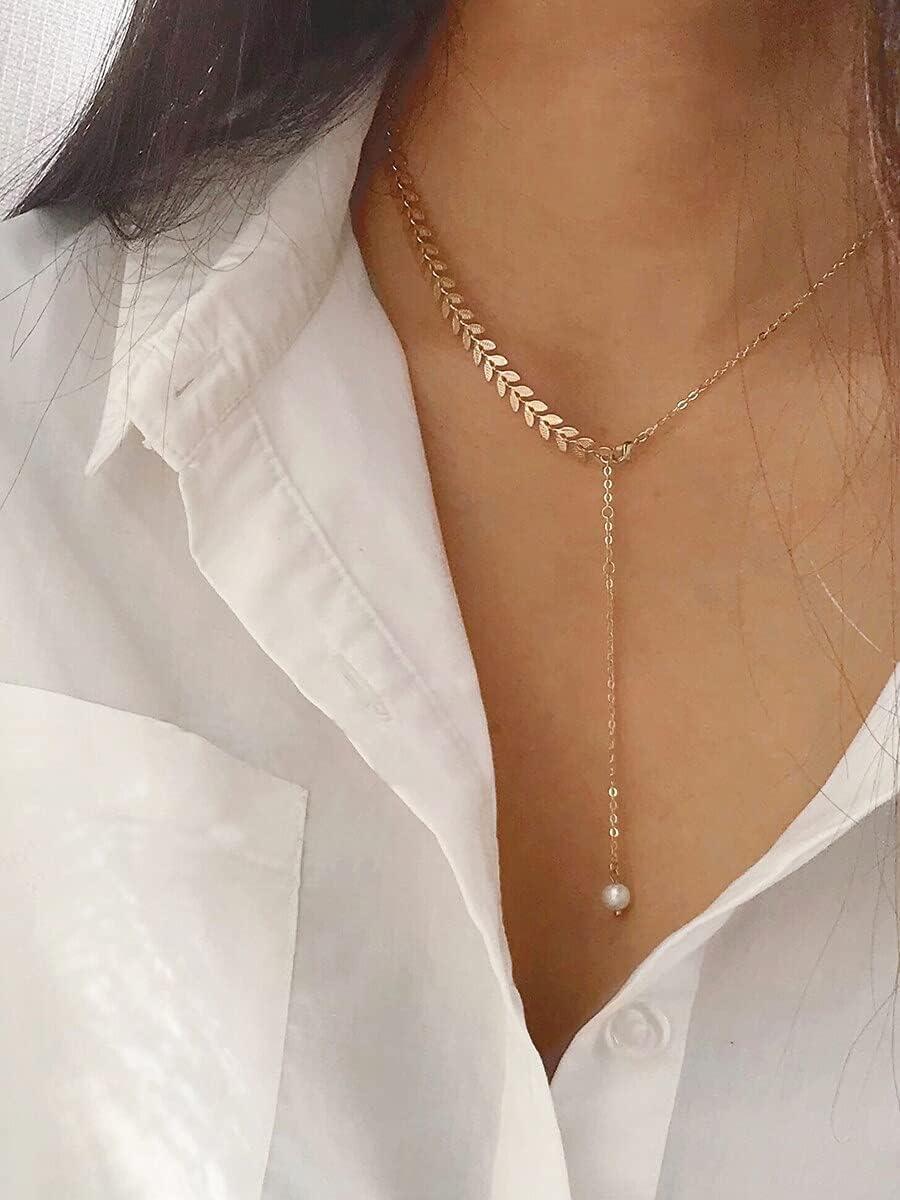 ANBF Necklace Pendant Leaf Detail Lariat Necklace 1pc (Color : Gold)