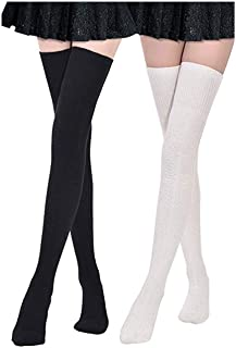 2 Pairs Womens Extra Long Cotton Leg Warmers Over the Knee High Boot Stockings Cotton Thigh High Socks