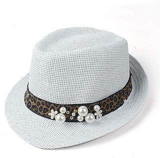 Songlin @ yuan Summer Lady Straw Hat Beach Sun Hat Elegant Travel Summer Fedora Pearl Panama Sunbonnet Sunhat Size 57CM (Color : White, Size : 57CM)