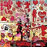 79 Piezas Adhesivo para ventana de San Valentín,Románticas Rojas Pegatinas de Pared para Parejas diseño de corazón estático Cupido