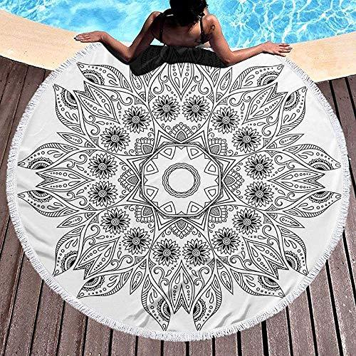 Duanrest Ronde Strandhanddoek Stranddeken, Ornate Arabesque Esoterische Figuur Esoterische Oosterse Chakra Ritual Art Print,Handdoek Strandmat 59