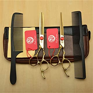 Professional Barber High-End 6,0 Inch Hair Snijden Scharen Verdunnende Shears 9CR Steel Golden 4 delige Set Kappen Styli...