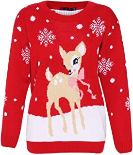 Girl Talk Clothing Childrens Deer Christmas Knitted Jumper