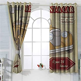HouseLookHome Cars Blackout Curtain Panels Window Drapes,Vintage Car Rentals Commercial Illustration Print Keys Original Dated Auto Objects Design Gromment Curtains for Bedroom W84 x L72 Inch Tan Red