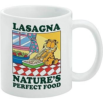 Amazon Com Garfield Lasagna The Perfect Food White Mug Coffee Cups Mugs