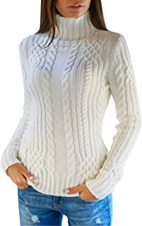 VamJump Women's Cable Knit High Neck Long Sleeve Casual Pullover Sweater