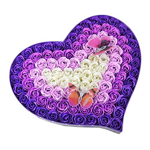 Rose Savon Fleur - 100 Parfum Coeur Bain Corps Pétale Rose Savon De Mariage Cadeau De Mariage Pour La Saint-Valentin, Fête des Mères, Noël, Anniversai