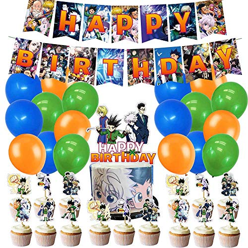 Hunterxhunter Theme Birthday Party Supplies and Decorations Hunter x Hunter includes Birthday Banner, Balloons,Cupcake Toppers,Cake Topper Party Favors