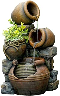 multi pots with flower pot outdoor water fountain