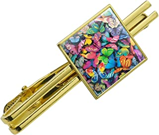 GRAPHICS /& MORE Colorful Butterflies Butterfly Design Round Tie Bar Clip Clasp Tack Silver Color Plated