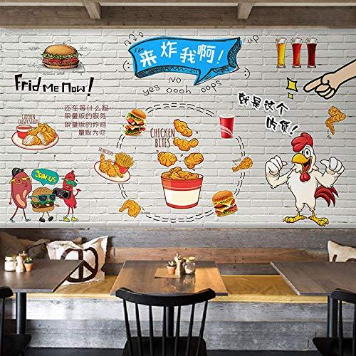 LYSBHX 3D Wallpaper Selbstklebend (B) 520X (H) 290Cm Koreanisch Gebratenes Huhn Burger Gourmet 3D Fototapete Wandbild Wandkunst Dekoration Kinderzimmer 3D Wandbild Junge Mädchen Zimmer Wand Poster Sc