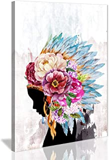Native American Decor Framed Wall Art Canvas Prints Beautiful Feathered African Indian Women with Colorful Feather Headdress Painting on Canvas For Living Room Bedroom Wall Decoration(24x36inx1)