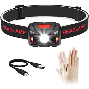 Winzwon USB Wiederaufladbare LED Stirnlampe Kopflampe, Wasserdicht Leichtgewichts Mini stirnlampen Perfekt fürs Laufen, Joggen, Angeln, Campen, für Kinder