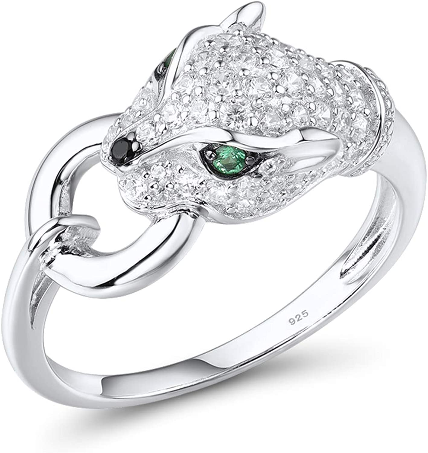 Bombing new work Santuzza Some reservation Panther Ring 925 Sterling Rings Zi Leopard Silver Cubic