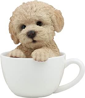 Ebros Realistic Adorable Brown Poodle Dog Teacup Statue 6
