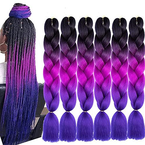 6 Packs Jumbo Flechten Hair Extensions Colorful Kunsthaar Heat Resistant Haar für Heimwerker Crochet Box Zöpfe Ombre Lila 3Tone Color 100g/pcs 60 cm (ombre dark purple-purple)