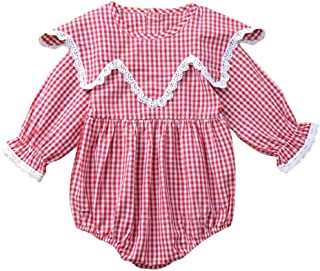 Xifamniy Infant Girls Long Sleeve Romper Plaid Element Ruffled Collar Cotton Jumpsuit
