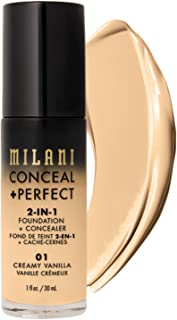 Milani Conceal + Perfect 2-in-1 Foundation + Concealer - Creamy Vanilla (1 Fl. Oz.) Cruelty-Free Liquid Foundation - Cover Under-Eye Circles, Blemishes & Skin Discoloration for a Flawless Complexion