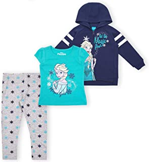 3-Piece Frozen Leggings Set for Girls with Elsa Shirt and...