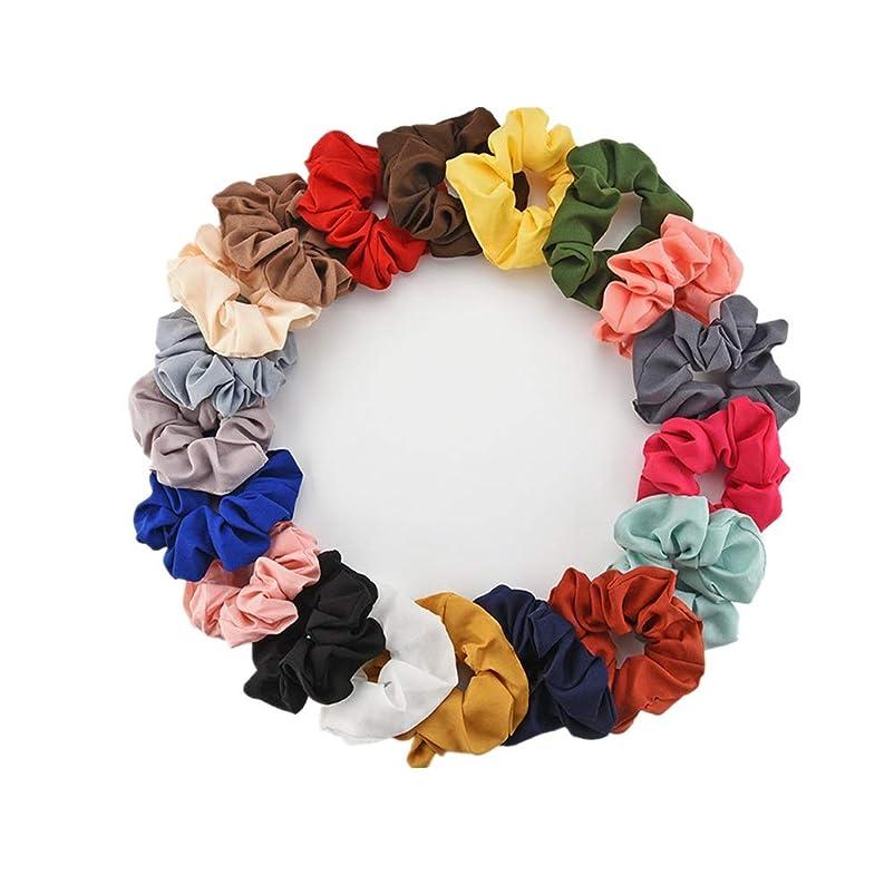 テーブル是正噛むヘアゴム ボウシュシュサテン20のシルクスカーフ髪シュシュのために髪シフォンポニーテールホルダーヘアバンド レディース シンプル (Color : Photo Color, Size : M)