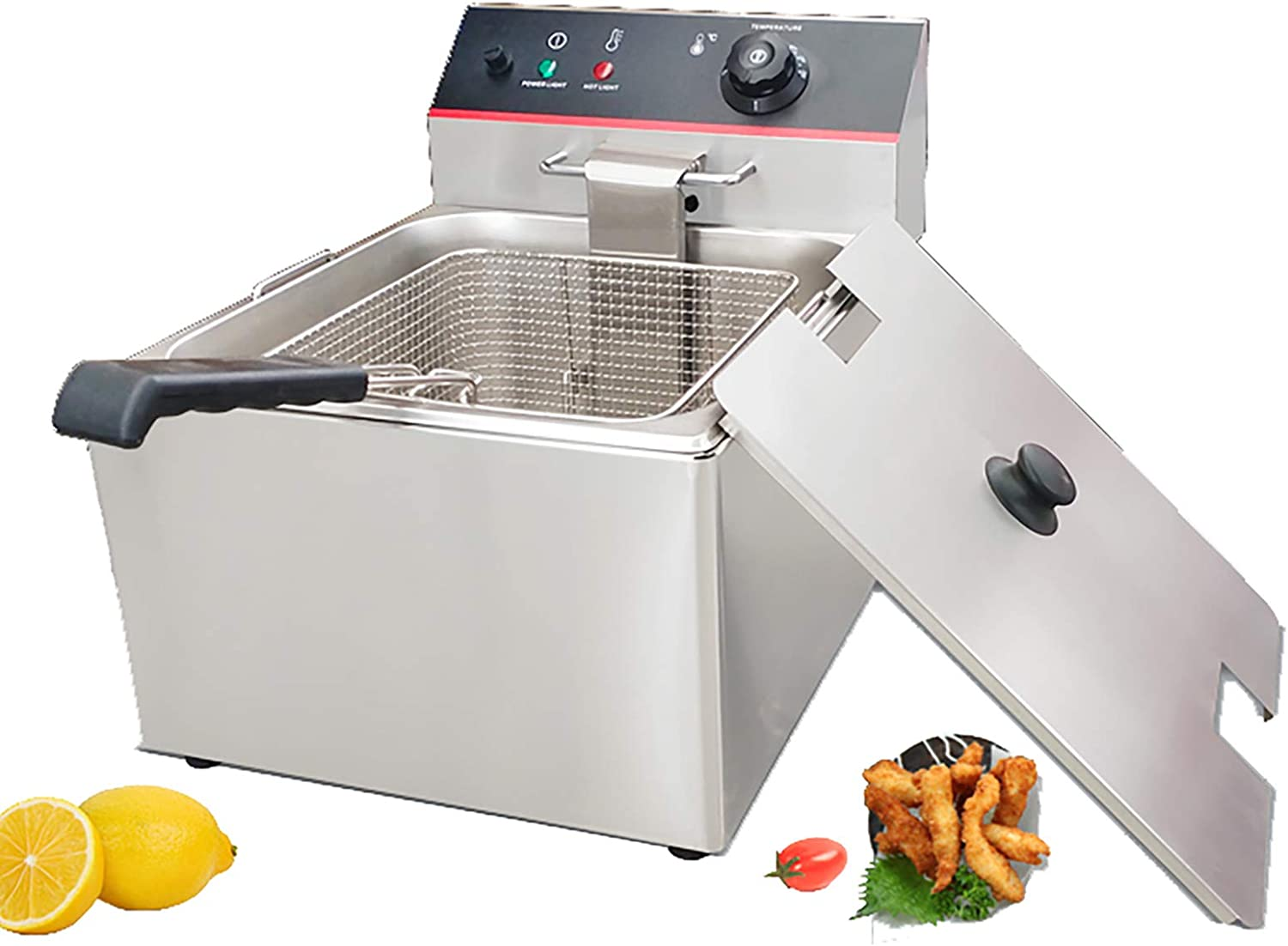 DayRoad Commercial Deep Fryer Electric Countertop 6L Oil Tank Basket 2500W Stainless Steel Chicken Chips Fryer for Fries Home Kitchen Restaurant