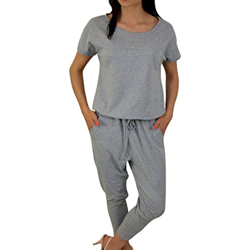 094aef215fa VamJump Women Summer Casual Short Sleeve Drawstring Harem Jumpsuit Romper  Pants