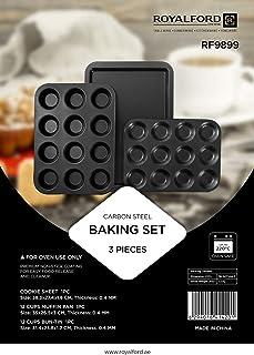Royalford Non-stick Bakeware Set - Includes Non-stick Bun Pan, Cookie Sheet / Baking Sheet & 12Pcs Muffin Pan / Cupcake Pa...
